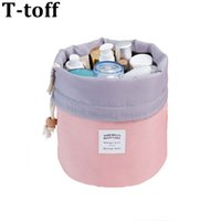 High Capacity Barrel Shaped Travel Women Brand Cosmetic Bags...