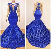 2019 vendita calda Royal Blue Mermaid Prom Dresses Jewel Collo Tulle Pizzo 3D-Floral Appliques lungo sweep treno partito convenzionale abito da sera abiti