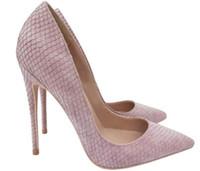 Designers de marca de luxo sapatos rosa roxo snakeskin saltos altos saltos de dedos apontados Bombas vermelhas do salto vermelho das mulheres: 8cm 12cm 10cm tamanho grande euro45 dança casamento com logotipo original