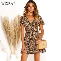 Wixra 2019 Summer New Hot Sweet Ruffles Dress V Neck corto corto con scollo a V corto per le donne