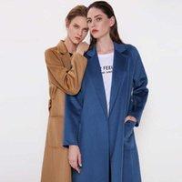 Women's Laine Blends 2021 Automne et hiver Style de laine Overcoat Water Ripple Vêtements de cachemire double face Dame rallongé Cravate Taille Jack
