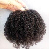 Brezilyalı i İpucu Önceden Yapıştırılmış Saç Uzantıları İnsan Afro Kinky Kıvırcık Doğal Siyah Renk 1G / PC 100 ADET BUNDLE