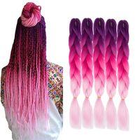 Ombre Jumbo flechten synthetische Haar Borten 24 Zoll 5 Sätze / Los Ombre kanekalon Faser Crochet Haar für Box Zöpfe Twist Hair Extensions