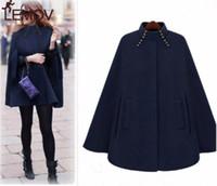 Женщина зимняя водолазка рукав длинный мыс Англии стиль старинные шерстяные пальто Свободные High Street роскошный зимний мыс