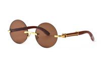Óculos de sol 2020 tendências homens retro rodada esportes madeira óculos de sol punk do vapor de metal mulheres óculos búfalo Reading Óculos Homem Retro