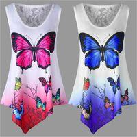 5XL Grandes Tailles été femme T-shirt manches Casual Hauts irrégulière T-shirt imprimé papillon en vrac Taille Plus Femme Top
