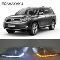 ECAHAYAKU ماء بدوره إشارة نمط ترحيل LED DRL النهار تشغيل أضواء الضباب مع مصباح هول لتويوتا هايلاندر 2012 2013