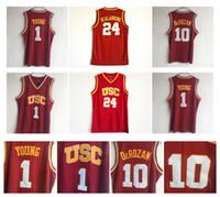 10 Derozan Jersey USC Güney Kaliforniya 24 Brian Scalabrine 1 Nick Young NCAA Koleji Basketbol Formaları Kırmızı 100% Dikiş En Kaliteli!