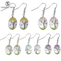 Multicolore en verre naturel Fleurs séchées Boucles d'oreilles Ovale Boule Arbre de Vie Goutte Boucle d'oreille créative Pendent bijoux cadeau pour les femmes en gros-Y