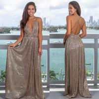 2019 Silber Pailletten Abendkleider Sexy Tiefem V-ausschnitt Prom Party Kleid Criss Cross Open Back Eine Linie Besondere Anlässe Kleid