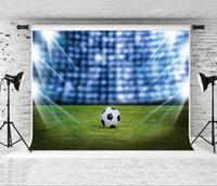 Photographie de football de rêve 7x5ft toile de fond pour la fête photo fond de champ vert tirer Studio Prop photographe enfants photo