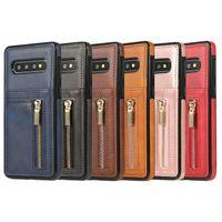 سحاب حالة الهاتف بو الجلود الغطاء متعددة الوظائف محفظة tpu الغطاء الخلفي مع فتحة بطاقة القضية لسامسونج s10 S10E S10PLUS Huawei P30 Pro