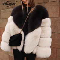 Contraste Luxo Brasão Cor Fur Mulheres Winter Faux Fox Fur Jackets Coats Street Fashion Fluffy Overcoat Grosso Falso Quente Y201004 Fur Jacket
