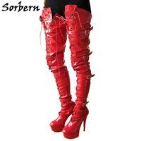 Sorbern vermelho brilhante 80cm virilha coxa alta botas com saltos personalizados amplos botas de bezerro para mulheres grande tamanho de salto tamanho 11 sapatos