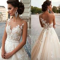 Árabe do vintage Blush Vestidos de Noiva Lace Vestido de Noiva Sheer Neck Voltar Applique Tule Vestido de Noiva Custom Made Frisado Sash Vestido de Noiva