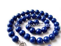"""Gioielli di moda le donne 18"""" 14 millimetri rotonda naturale lapis blu collana lazuli"""