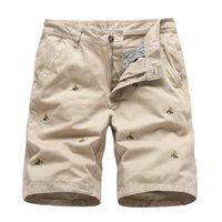 Los hombres pantalones cortos de verano de los hombres del estilo de cortocircuitos de la manera Marca Safari algodón ocasional hermoso bordado longitud de la rodilla pantalones masculinos playa