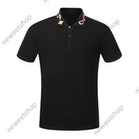 mens polo nakış çiçekler arı yılan boyun tişört rahat yaka açma tişört t shirt için 2020 yaz tasarımcı lüks giyim