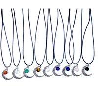 12mm Reiki Pierres Boule Turquoise Quartz Rose Vintage Lune Cadre Charms Pendentif Collier pour Femme Homme Cadeau