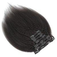 Клип 9 класс Virgin Hair Extensions В человеческом волосе бразильский Перуанский Малазийский Индийские кудрявый 7pieces прямых волосы / комплект 120g Natural Color 1B