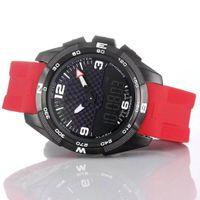 Großhandel T-Touch Expert Solar-T091 mit schwarzem Ziffernblatt Chronograph Quarz-Rot-Kautschukband Faltschließe Mann-Uhr-Armbanduhren Herren Uhren