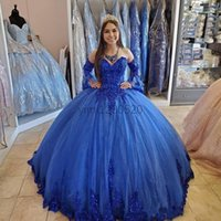 Royal Blue Ball Gown Quinceanera Abiti Dolci cuore Sweet Sweeve Sweep Treno Sequines Appliques Formale Prom Party Gowns per DOLCE 15