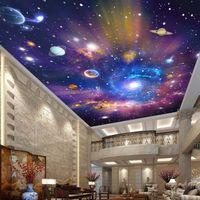 사용자 정의 3D 사진 배경 화면 스타 우주 갤럭시 룸 일시 중단 된 천장 벽화 거실 침실 홈 인테리어