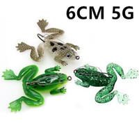 1PCS 3 색 6cm 5g 개구리 낚시 후크 낚시 바늘 단일 후크 소프트 미끼 미끼 낚시 태클 C-024