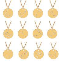 Acero inoxidable 12 Conscell Collar de cristal Horóscopo Collares Monedas Colgantes Mujeres Hombres Joyería de moda Will y Sandy