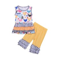 hot sale chicken Print girls Fashion clothing 2pcs set Kids ...