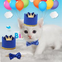 2Pcs set Shiny Pet Dogs Caps With Bowknot Cat Dog Birthday C...