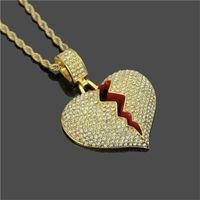 Gelado fora do coração quebrado coração pingente colares homens bling cristal cristal amor charme ouro prata torcido cadeia para mulheres hip hop jóias