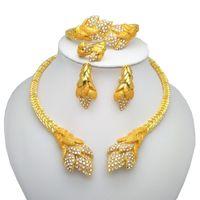 Unido al por mayor de Ma nigeriana mujeres novia sistemas de la joyería de Dubai de oro se establece el color de la joyería africana mujeres collar grande de joyería