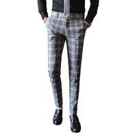 2019 Abito da uomo Pantalone scozzese Business Casual Slim Fit Pantalon A Carreau Homme Classico Abito a quadri vintage Pantaloni Pantaloni da sposa
