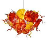 고품질 꽃 플레이트 샹들리에 조명 오렌지 노란색 디자인 손 불어 유리 체인 LED 조명기구의 샹들리에