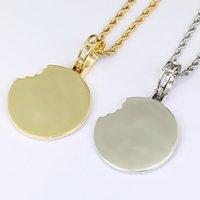 diamants biscuits Fashion- colliers pendentif pour hommes femmes cristal de luxe pendentifs en or 18 carats Cooky palted Collier d'argent d'or de cuivre