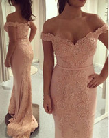 2019 Off the Shoulder Blush Pink Lace Beaded Custom Made Lon...