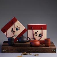 Çince Geleneksel Seyahat Çay Seti Mor Kil Kung Fu Çay Seti Çay Kupası Kupa Paketi GiftBoX ile Seramik Hediyelik Çaydanlık