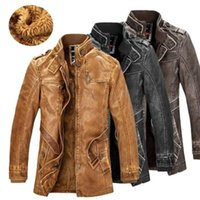 Men's PU Jacket Motorcycle Coats Thick Fleece Warm Outerwear Slim Fit Male Leather Coat Brand Clothing Mens Warm Leather Coat