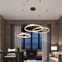 Lampes de pendentif modernes pour salon salle à manger Dimmable aluminium acrylique grand lumineux luminaire