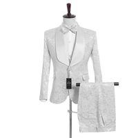 Сшитое на заказ платок жениха белый смокинг жениха смокинги белого цвета мужские костюмы свадьба / выпускной вечер лучший человек (куртка + брюки + жилет + галстук) M952