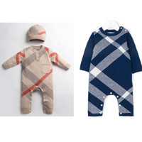 Retail Baby Plaid knitted sweater Romper With cap Cotton Rom...