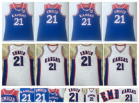 Joel 21 Embiid Jersey NCAA Kansas Jayhawks Koleji Basketbol Formalar Mavi Beyaz Spor Gömlek Üst Kalite! S-XXL