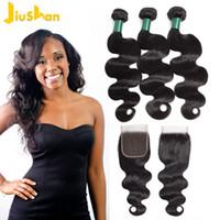 Xiaohan Bündel mit Closure brasilianischen Haar-Webart Bundles Körper-Wellen-Menschenhaar 100% 3 Bundles mit Schließung Non Remy