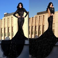 Sparkling Black Sequined Prom Dresses Long Sleeve Mermaid Hi...