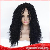 Fashion Womens Wigs Natural Black Curly Wig 180% Density Mid...