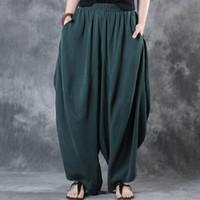 Artı boyutu ZANZEA Elastik Bel Gevşek Geniş Bacak Pantolon Kadın Pamuk Keten Vintage Katı Baggy Harem Pantolon Pantolon Pantalon Femme