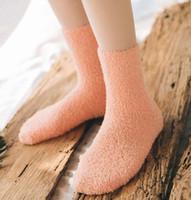 Damer fulffy strumpor solida färger kvinnor fuzzy sock vinter socka varma strumpor hem handduk godis färg tjocka golv termiska sovande strumpor hosieri
