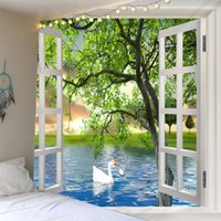 3D Scenery outside the window Art Wall Hanging Backdrop Beds...