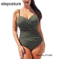 Women's Swimwear 2021 Sexy One Peça Swimsuit Mulheres Malha Retalhamento Ternos De Banho Vintage Summer Beach Wear Swim Teet Plus Size M-4XL